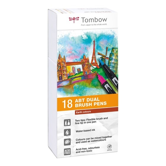 ABT Dual Brush pen 18-set Earth i gruppen Penne / Kunstnerpenne / Penselpenne hos Pen Store (101095)