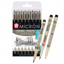 Pigma Micron Fineliner 6-set + 1 Brush Pen + 1 PN